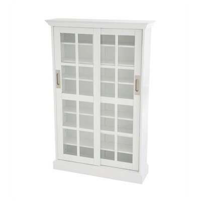 Open Box Price Woods Windowpane Multimedia Cabinet in White