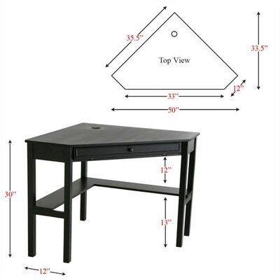 "Wildon Home ® Boone 50"" W Corner Desk in Black"