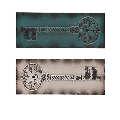 Wildon Home ® Wolfson Vintage Key Wall Panels (Set of 2)