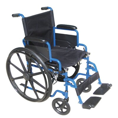 Drive Medical Wheelchairs Blue Streak Wheelchair with Flip Back Detachable Desk Arms and Swing away Foot Rest