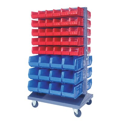 Quantum Storage Mobile Double Sided Louvered Rack with Various Bin Sizes (Complete Package)