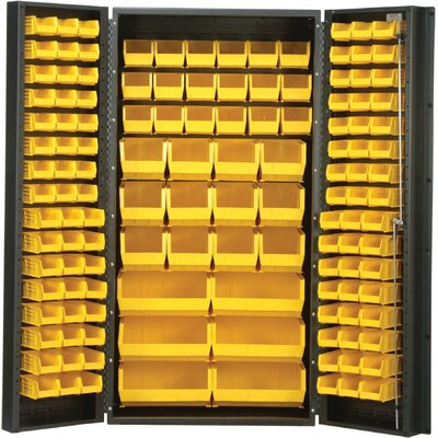 "Quantum Storage 36"" Wide Welded Storage Cabinet with 132 Ultra Bins"