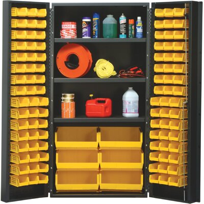 "Quantum Storage 36"" Wide Welded Storage Cabinet with 102 Ultra Bins"