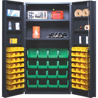 "Quantum Storage 36"" Wide All-Welded Storage Cabinet with 64 Ultra Bins"