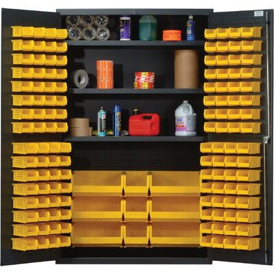 "Quantum Storage 48"" Wide Welded Storage Cabinet with 137 Ultra Bins"