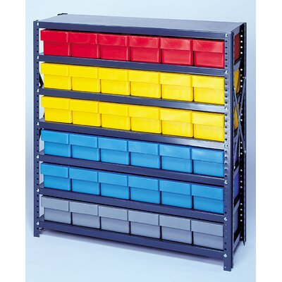 "Quantum Storage Open Shelving Storage System with Euro Drawers (75"" H x 36"" W x 18"" D)"