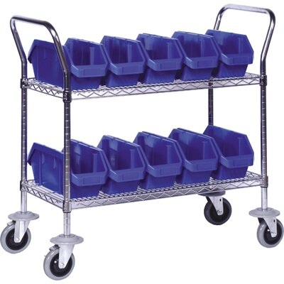Quantum Storage 3 Shelf Mobile Wire Cart with Quick Pick Bins