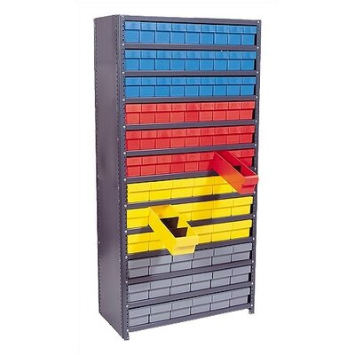 "Quantum Storage Closed Shelving Storage System with Various Euro Drawers (75"" H x 36"" W x 18"" D)"