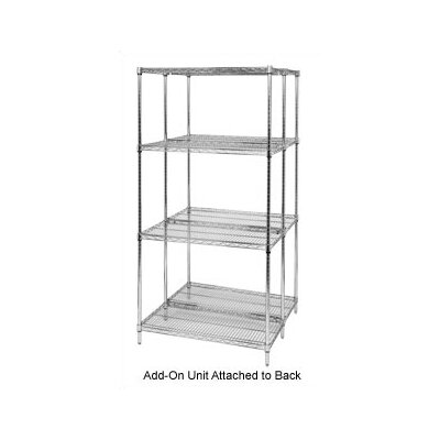 "Quantum Storage Small 74"" Q-Stor Chrome Wire Shelving Add-On Unit"