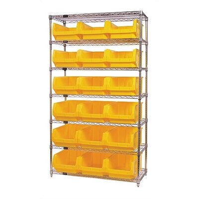 "Quantum Storage Q-Stor 7 Shelf Unit with Magnum Bins (74"" H x 42"" W x 18"" D) with Optional Mobile Kit"