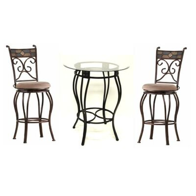 Boraam Industries Inc Three Piece Beau Metal Pub Set in Black and Gold