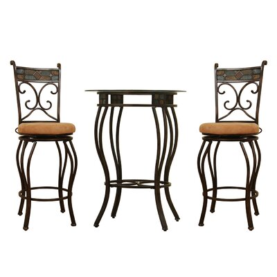 <strong>Boraam Industries Inc</strong> Three Piece Beau Metal Pub Set in Black and Gold