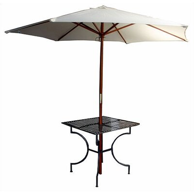 "Pangaea Home and Garden Iron Square Dining Table with 2.75"" Umbrella Holder"
