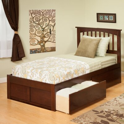 Atlantic Furniture Urban Lifestyle Mission Bed with 2 Bed Drawers