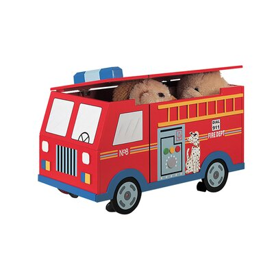 Teamson Kids Wings and Wheels Fire Engine Trunk on Wheels Toy Box