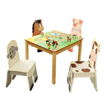 Kids happy farm room kids 5 piece square table and chair set jpg