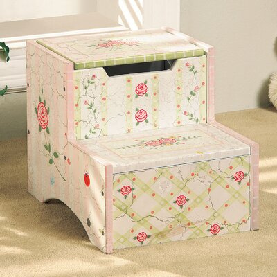 Crackled Rose Room Girls Step Stool with Storage