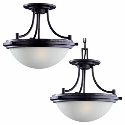 Sea Gull Lighting Winnetka 2 Light Semi Flush Mount