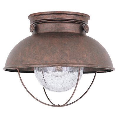 Sea Gull Lighting Sebring Outdoor Flush Mount in Weathered Copper