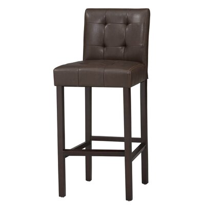 Bonded Leather Tufted Counter Stool in Espresso