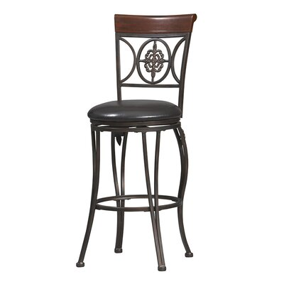 "Linon 30"" Fleur De Lis Bar Stool in Dark Antique Gold Frame and Brown Wood"