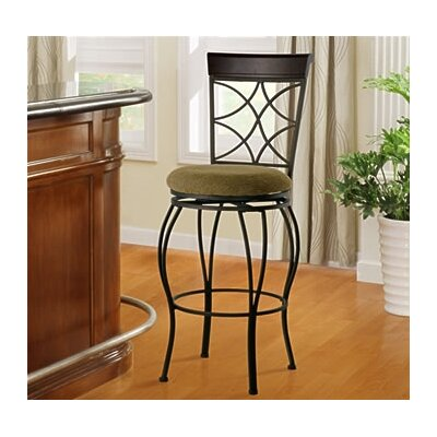 Linon 30&quot; Curves Back Bar Stool in Metallic Brown &amp; Brown Wood