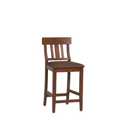 Linon Torino Slat Back Barstool in Dark Cherry