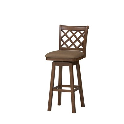 Linon Sussex Swivel Bar Stool in Dark Oak