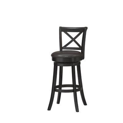 Linon X Back Swivel Bar Stool in Rich Black