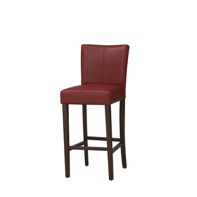 Bonded Leather Counter Stool in Rich Walnut