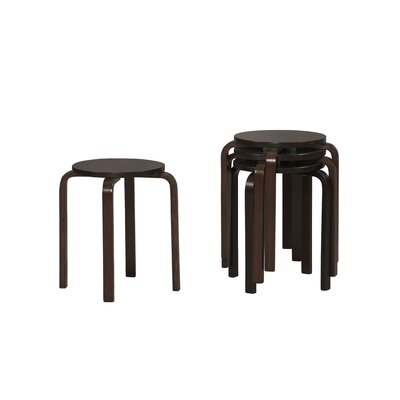 Linon Bentwood Short Stacking Counter/Bar Stool in Wenge