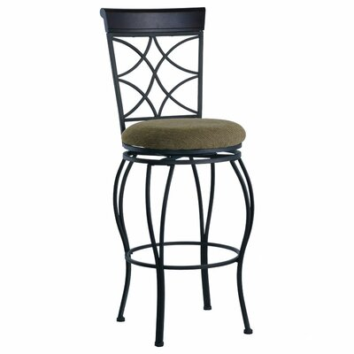 "Linon 30"" Curves Back Bar Stool in Metallic Brown & Brown Wood"