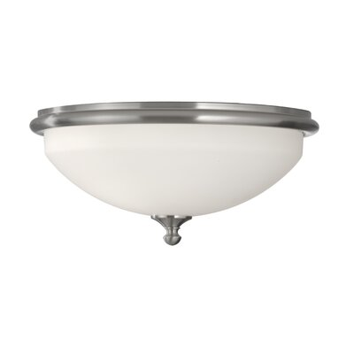 Feiss Merritt Two Light Flush Mount in Brushed Steel