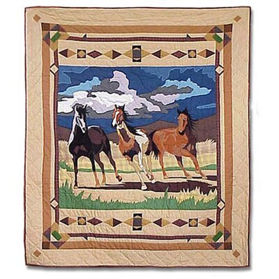 Patch Magic Wild Horses Cotton Throw Quilt