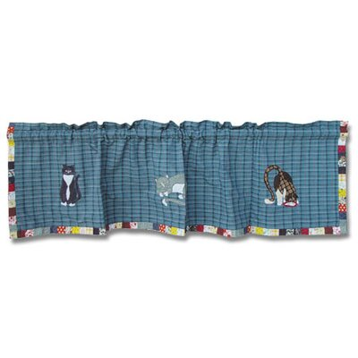 Patch Magic Kitty Cats Cotton Rod Pocket Tailored Curtain Valance