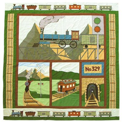 Patch Magic Train Cotton Shower Curtain