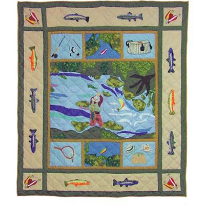 Fly Fishing Cotton Throw