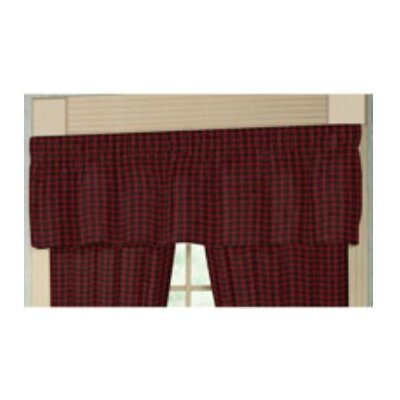 Patch Magic Red and Black Plaid White Lines Cotton  Curtain Valance
