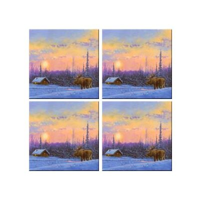 Tuftop Van Zyle Moose and Cabin Coasters (Set of 4)