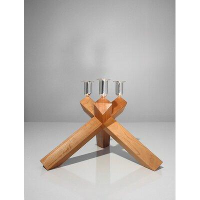Designfenzider No.2 Cherry Wood, Silver Plated Aluminum Candelabra