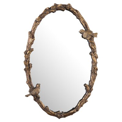 Paza Oval Mirror in Antiqued Gold