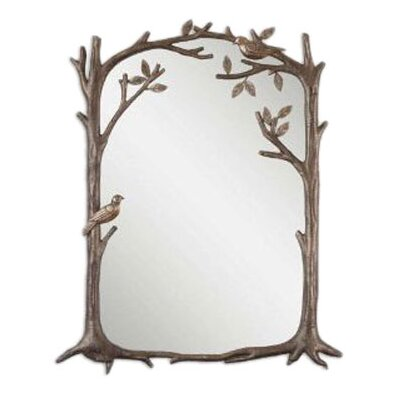 <strong>Uttermost</strong> Perching Birds Small Mirror in Antiqued Silver Leaf
