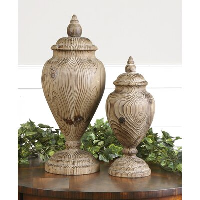 Brisco 2 Piece Carved Wood Finial Set