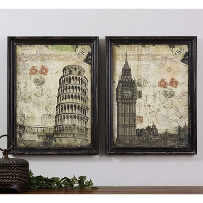 2 Piece European Postmarks Graphic Art on Shadow Box Set