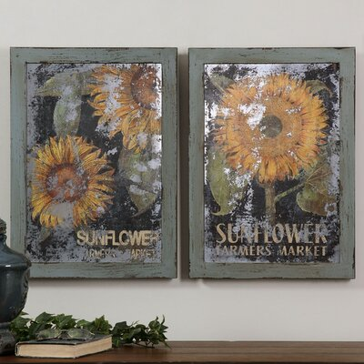 Sunflower Farmers Market 2 Piece Framed Painting Print Set