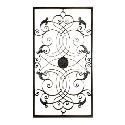 Effie Rectangular Forged and Embossed Metal Wall Art in Aged Black