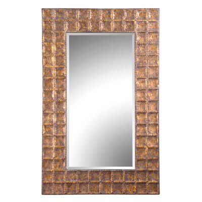 Uttermost Gavino Hammered Metal Frame Beveled Mirror in Antiqued Gold