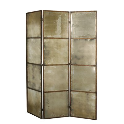 Uttermost Avidan Mirrored Room Divider in Heavily Antiqued Gold