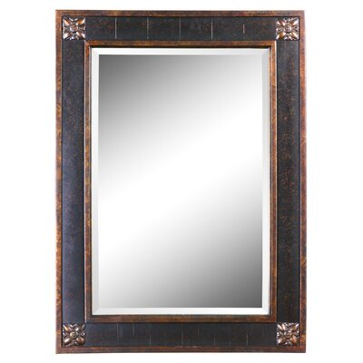 Bergamo Rectangular Beveled Vanity Mirror in Chestnut Brown