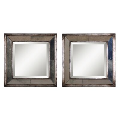 Uttermost Davion Square Mirror Set in Antiqued Silver Leaf